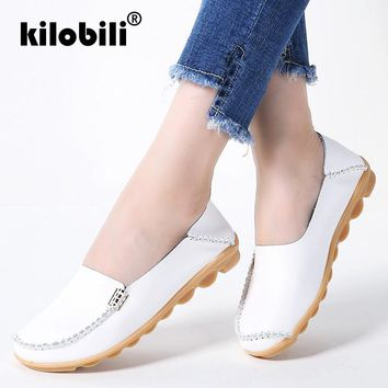 kilobili 2018 Autumn Women Flats Genuine Leather Shoes Slip On Ballet Flats Female Casual Flats Shoes Moccasins Loafers Shoes