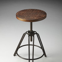 Industrial Revolving Bar Stool Distressed Recycled Wood
