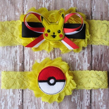 Pokemon Garter Set | Pikachu and Ball Wedding Garters | Bridal Garter and Toss Garter