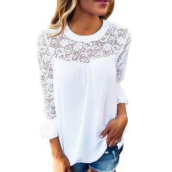 Woman's Long Sleeve Lace Top