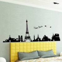 Large I Love Paris Eiffel Tower Sticker Decal for Kids Room Living Room