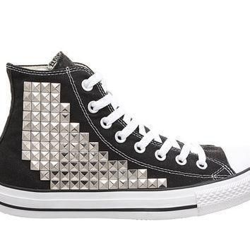 studded converse converse black high top with silver pyramid studs by customduo on et