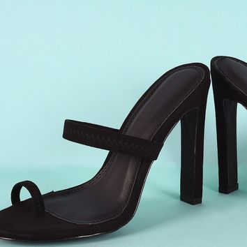 Suede Elasticized Toe Ring Rectangle Mule Heel