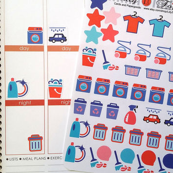 Cleaning Stickers, Blue and Red, Fits Erin Condren, July, Planner Stickers, Calender Stickers, Life Planner Stickers, Scrapbook, Journaling