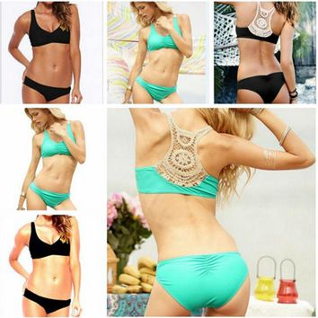 Beachwear Swimsuit Bathing Suit High Sexy Push Up Hollow Back Bikini