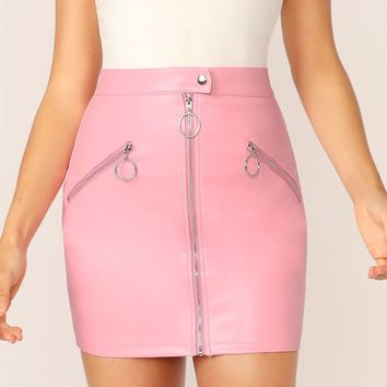 Zipper Front Faux Leather Mini Pencil Skirt