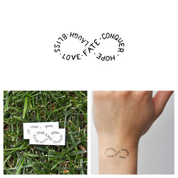 Infinity Symbol - Temporary Tattoo Quote (Set of 2) - Love Fate Conquer Hope Laugh Bliss