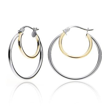 Gold Tone over Silver Two-Tone Double Circle Round Polished Hoop Earrings, 25mm