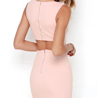 Aim to Chic Blush Pink Bodycon Dress