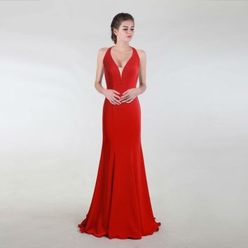 Elegant Evening Dress Mermaid Red Long Prom Party Gowns For Girls Women