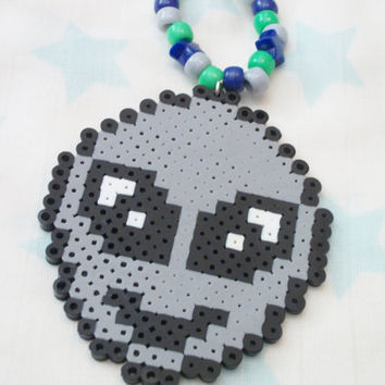 Alien Emoji Perler Kandi Rave Necklace, Neon, Outer Space Colors