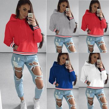 Leesa Varsity Hoodie - New Women Long Sleeve Hoodie Sweatshirt Sweater Casual Hooded Coat Pullover Top