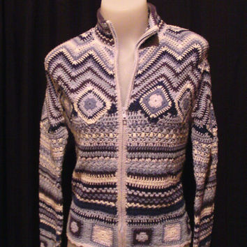 80s Blue and White Crochet Knit Cropped Summer Sweater