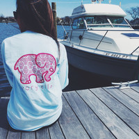 2016 Trending Fashion Light Blue Ivory Ella Cartoon Elephant Women Long Sleeve Top T-Shirt _ 4670