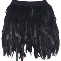 "ROMWE | ""Multi-layers Feather"" Black Skirt, The Latest Street Fashion"