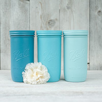 3 Painted mason jars. Wedding centerpieces. Blue mason jars. Turquoise decor, dorm organizer. Makeup brush holder. Blue wedding.