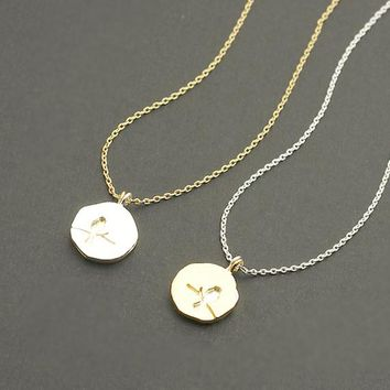 Two Tone Bird Charm Necklace / bird on branch necklace, sprig necklace, sitting bird necklace, duo tone / N060