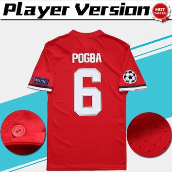 Champions League Player Version home red Soccer Jersey 17/18 #6 POGBA Soccer Shirt Cus