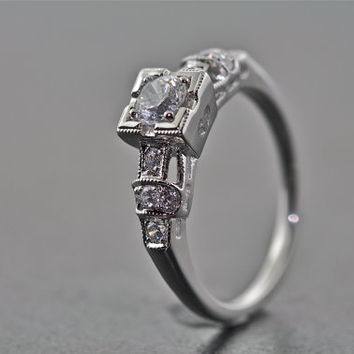 14kt White Gold, Diamond, and White Sapphire Art Deco Design Engagement Ring