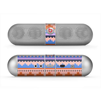 The Pink-Blue & Coral Tribal Ethic Geometric Pattern Skin for the Beats by Dre Pill Bluetooth Speaker