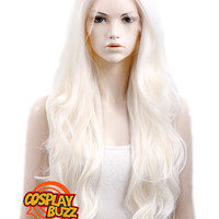"""26"""" Long Curly White Platinum Blonde Lace Front Synthetic Fashion Wig LF352 - CosplayBuzz"""