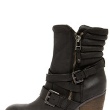 Steve Madden Raleighh Black Leather Ankle Boots