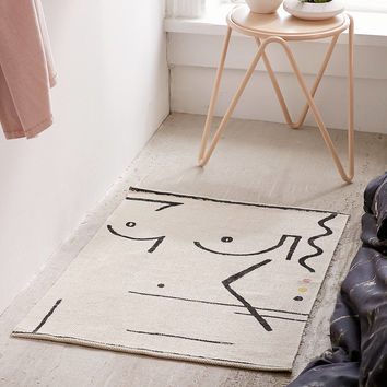 Abstract Lady Print Rug   Urban Outfitters