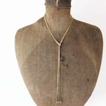 Long Gold Lariat Necklace - Gold Chain Lariat Necklace