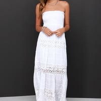 Vacation Migration Ivory Strapless Crochet Maxi Dress