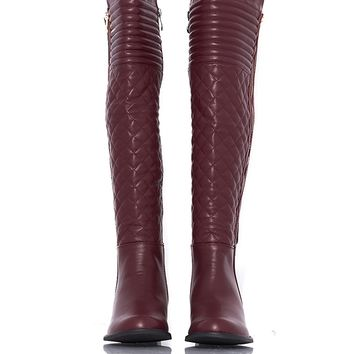 French Blu Emma Knee High Quilted Boots - Burgandy from French Blu at ShopRoxx.com