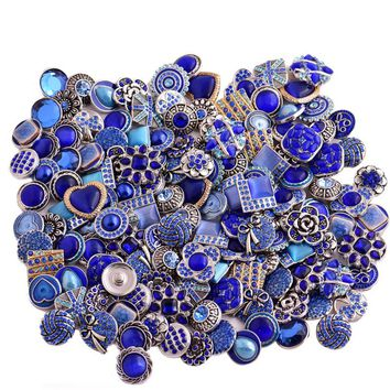 50pcs/lot  18mm 20mm hot sale metal starss differend design color Random mixed color rivca snap button bracelet jewelry