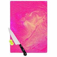 "Ashley Rice ""AC1"" Pink Watercolor Cutting Board"