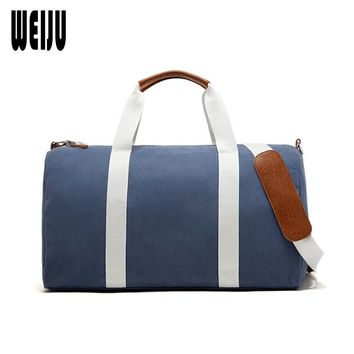 WEIJU 2017 New Canvas Men Travel Bags Large Capacity Hand Luggage Bag Female Travel Duffle Bags Leisure Weekend Bag