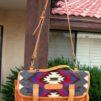 Vintage Ecuador Handbag with woven Textile Bohemian Tribal Wool & Leather Bag Tote Ethnic Festival Aztec Southwestern Satchel