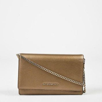 ONETOW Givenchy Gold Metallic Leather 'Pandora Chain Wallet' Shoulder Bag,beautiful purse & m
