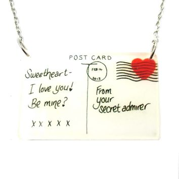 Post Card From A Secret Admirer Love Letter Shaped Acrylic Illustrated Pendant Necklace