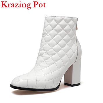2018 Fashion Brand Winter Shoes Runway Thick Heel Women Ankle Boots Square Toe Lady Warm Genuine Leather Motorcycle Boots L90