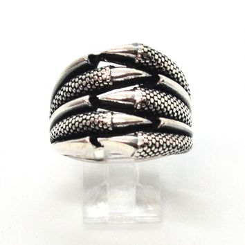 (2-5279-h9-2) Sterling Silver Men's Dragon Claws Ring with Black Accent.