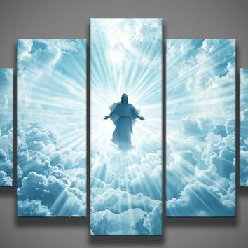 Print 5 pcs canvas wall art print Jesus is coming painting art picture home Decor Canvas Art Print Painting on canvas PT0762