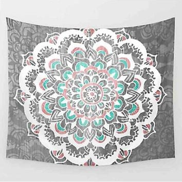 Boho Hippie Mandala White on Grey Tapestry Bedspread,  Beach Throw, Yoga Mat,  Home Decor 150*130c Polyester