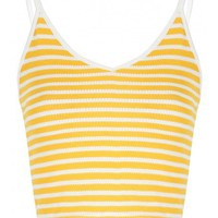 PETITE YELLOW AND WHITE STRIPE V NECK CROP TOP