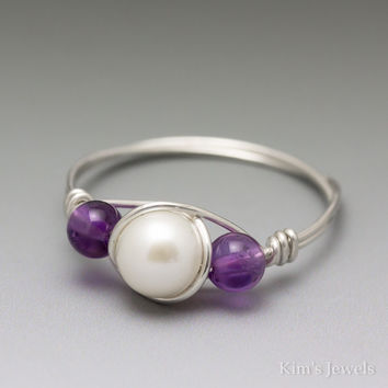 White Pearl & Amethyst Sterling Silver Wire Wrapped Bead Ring