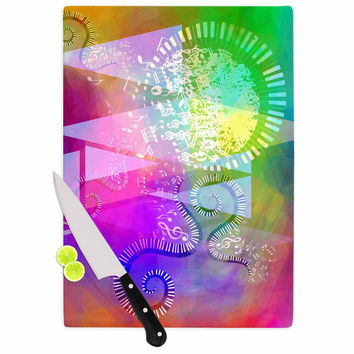 "AlyZen Moonshadow ""MUSICAL TENDRILS"" Purple Multicolor Cutting Board"