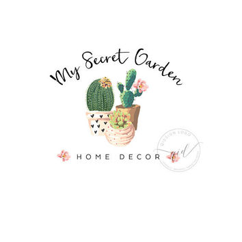 Succulent logo for Home Decor, Premade Logo, Interior design logo, Botanical Logo Design, House plant logo business, Floral craft logo