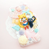 MADE TO ORDER Sailor Moon and Luna Sweets Pastel Whip Cream Handmade Custom iPhone Samsung Decoden Case