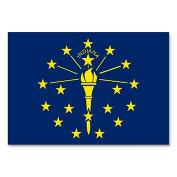 Patriotic table card with Flag of Indiana