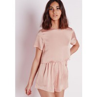 Missguided - Silky Double Layer Playsuit Dusky Pink
