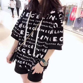 """""""Céline"""" Women Loose Casual Letter Print Hooded Short Sleeve  Sweater Pullover Hoodie Tops"""