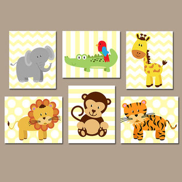 Jungle Wall Art, CANVAS or Prints Safari Theme Animals Jungle Nursery, Baby Boy Nursery Wall Art, Boy Bedroom, Boy Nursery Decor Set of 6