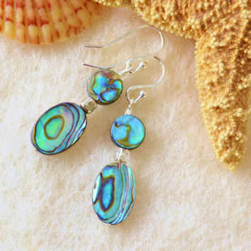 Abalone earrings, seashell dangles, iridescent earrings, beach jewelry, shell earrings, ocean jewelry, aqua blue, summer earrings,gift idea